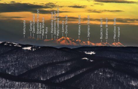 Widok na Tatry z Bieszczadów – opisana panorama