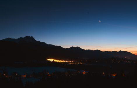 Tatry, Księżyc, Wenus i Mars na jednym zdjęciu (wysoka rozdzielczość)