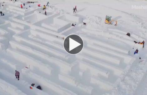 Największy na świecie śnieżny labirynt powstał w Zakopanem (FILM)