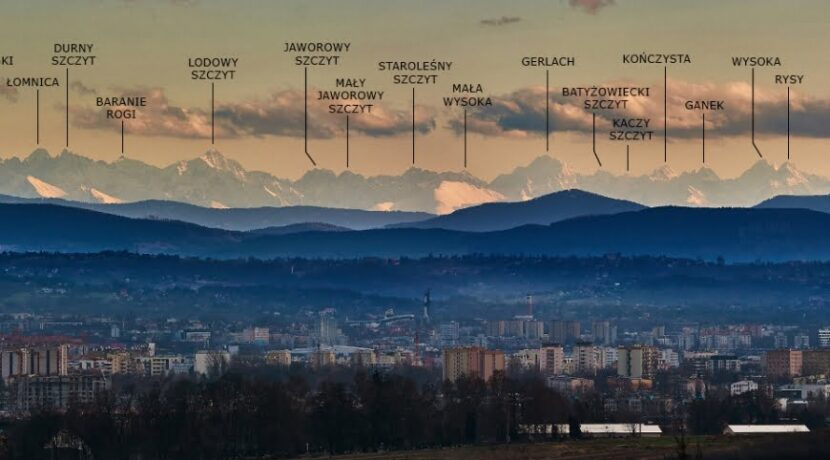 Piękna panorama Tatr z Krakowa – podpisane szczyty