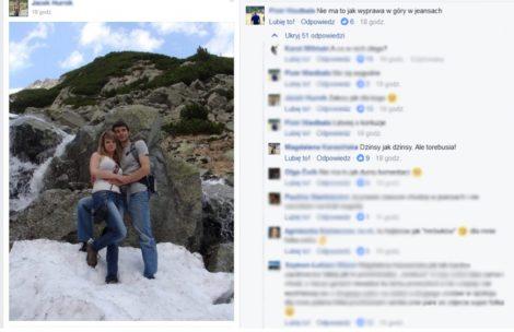 """Chcieli podzielić się zdjęciem z Tatr. Zostali """"zjechani"""" za…rodzaj spodni"""