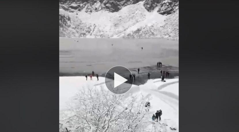 Turyści igrają z losem na tafli Morskiego Oka (FILM)