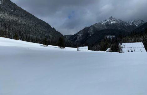 Polana Chochołowska cała w śniegu. Na krokusy przyjdzie jeszcze poczekać