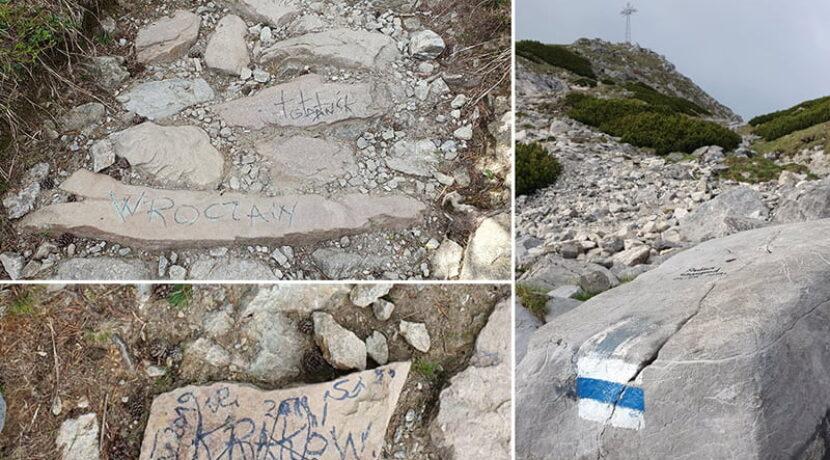 Wandale oszpecili szlak na Giewont. Pomazany co drugi kamień! (ZDJĘCIA, FILM)