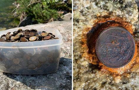 4 kilogramy monet wyłowione z Morskiego Oka. Niektóre przyrastają do kamieni!