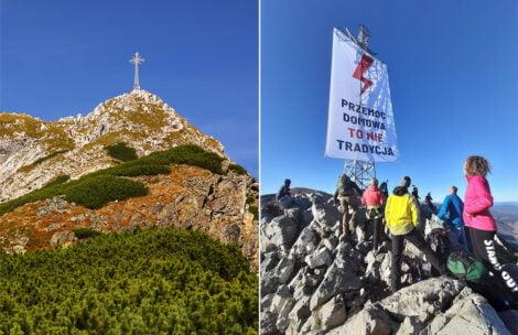 Na krzyżu na Giewoncie zawieszono baner Strajku Kobiet